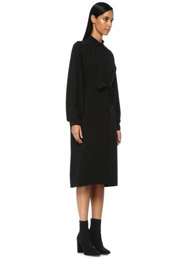 Beymen Collection Beli Kuşaklı Midi Gömlek Elbise Siyah